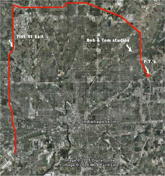 The route taken during the chase - counterclockwise on I-465 from Lawrence through Castleton down to the airport